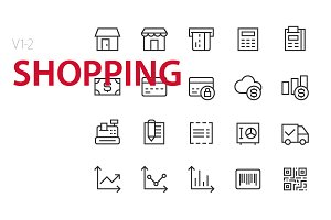 40 Shopping UI icons