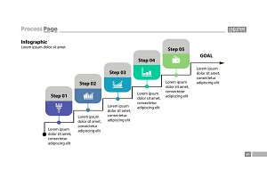 Five steps process chart template design