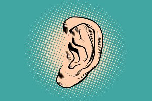 Male human ear Pop art retro
