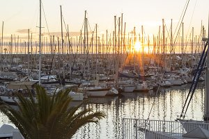 Boats in Barcelona´s harbor