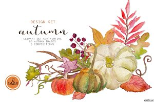 Autumn watercolor clip art
