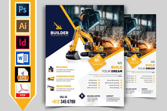 Construction Flyer Template Vol 01 Flyer Templates Creative Market