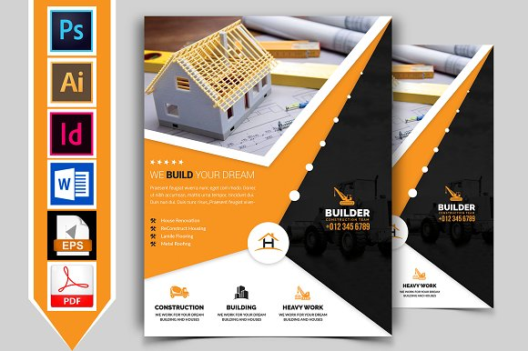Construction Flyer Template Vol Flyer Templates Creative Market - Construction brochure templates