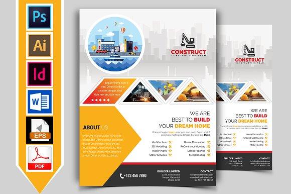 Construction Flyer Template Vol Flyer Templates Creative Market - Construction brochure templates
