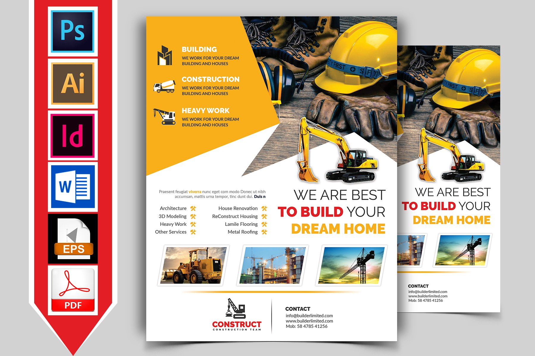 construction flyer template vol 05 flyer templates creative market