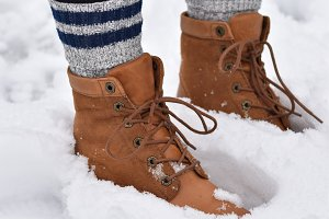 Boots In Snow Stock Photo