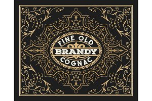 Old  label design for Brandy and Wine label, Restaurant banner,