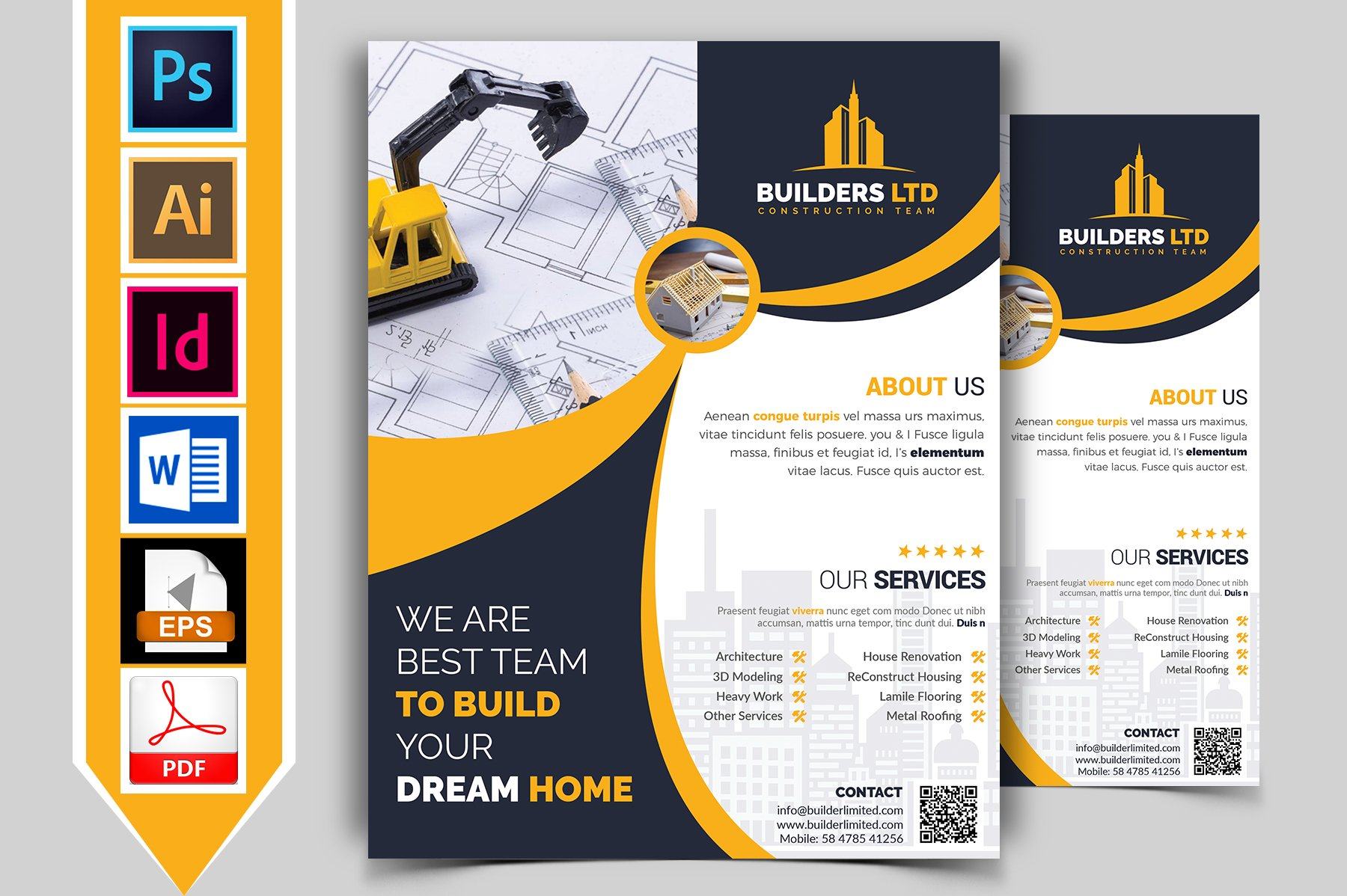 Construction flyer template vol 07 flyer templates for Home builder online free