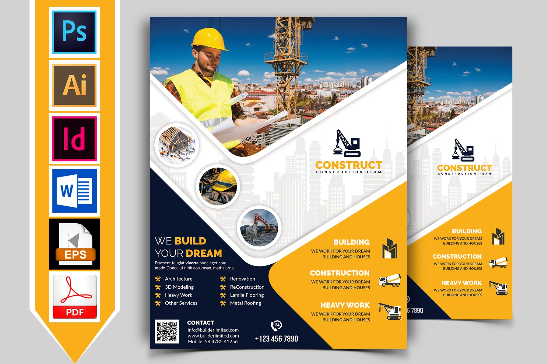 Construction flyer template vol 09 flyer templates for Vistaprint brochure template