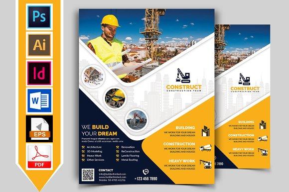 construction flyer template vol 09 flyer templates creative market