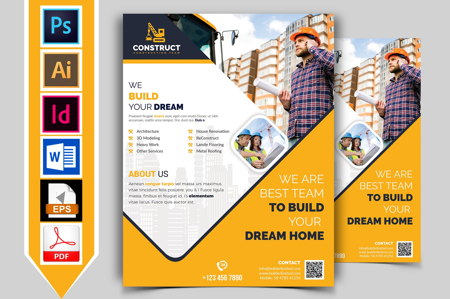 construction flyer template vol 10 flyer templates creative market