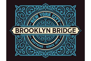 Vintage New York Brooklyn label, vector
