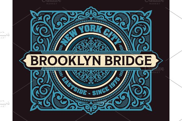 Vintage New York Brooklyn label, vector