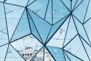 Abstract bluish glass facade