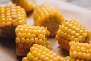 Golden boiled corns close up