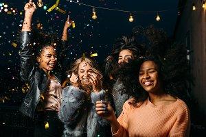 Female friends enjoying party