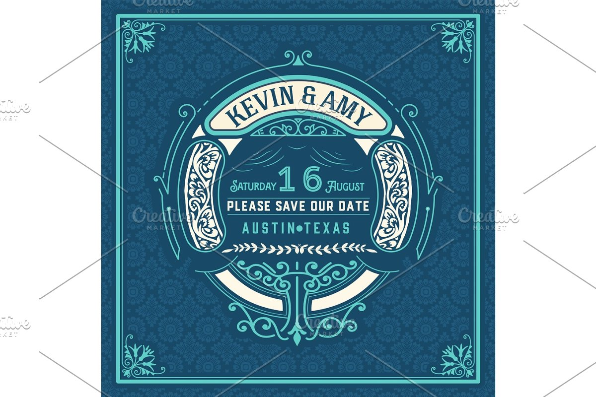 Vintage Wedding Invitation in Illustrations - product preview 8