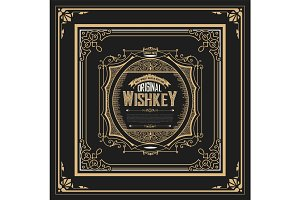 Retro whiskey label. Vector