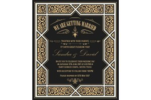 Wedding invitation vintage card with floral frame