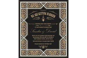 Wedding invitation vintage card with floral frame