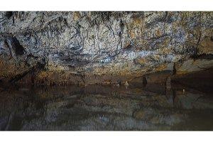Underground lake sorrunded by rocks