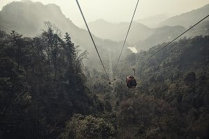 A cable railway in the mountains