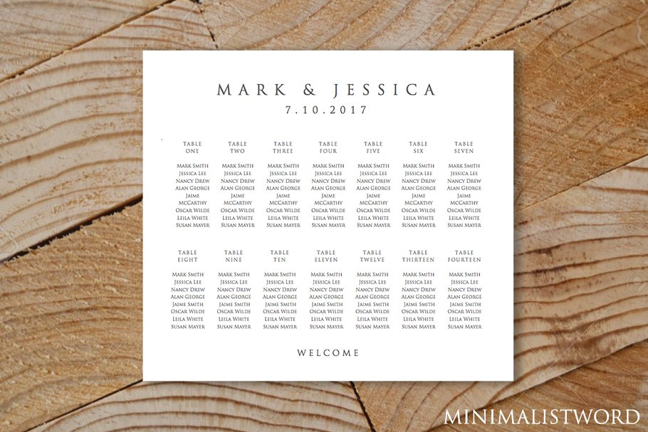 Wedding Seating Chart 14 Tables