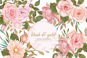 Watercolor Blush Gold Rose Clip Art