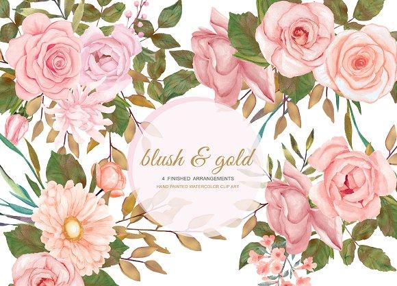 Blush & Gold Rose Clip Art -Graphicriver中文最全的素材分享平台