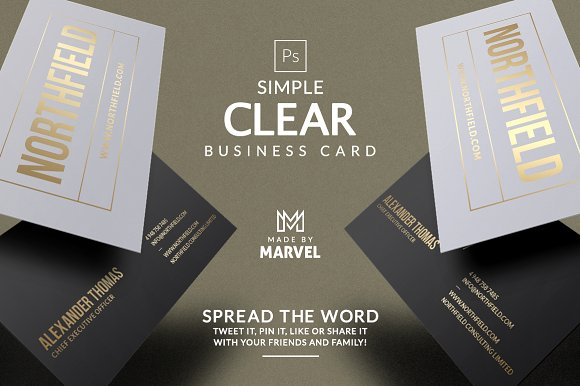Simple clear business card business card templates creative market colourmoves