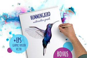 Hummingbird watercolor prints
