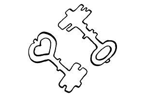Doodle key ink line art vector