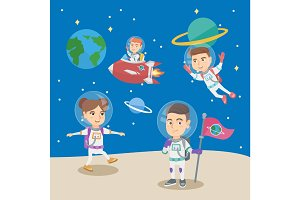 Group of little children playing in the astronauts