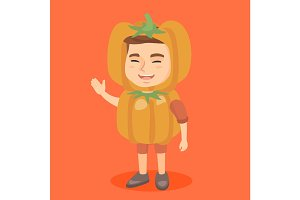 Caucasian boy in a halloween pumpkin costume.