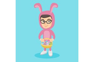 Boy in rabbit suit with the basket of easter eggs.