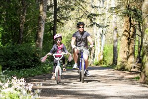 Family springtime bike ride