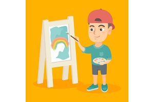 Caucasian boy artist painting picture on a canvas.