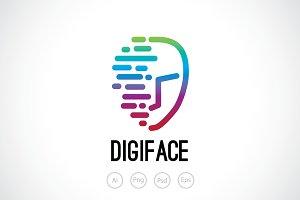 Digital Face Logo Template