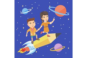 Children riding a pencil shaped as a space shuttle
