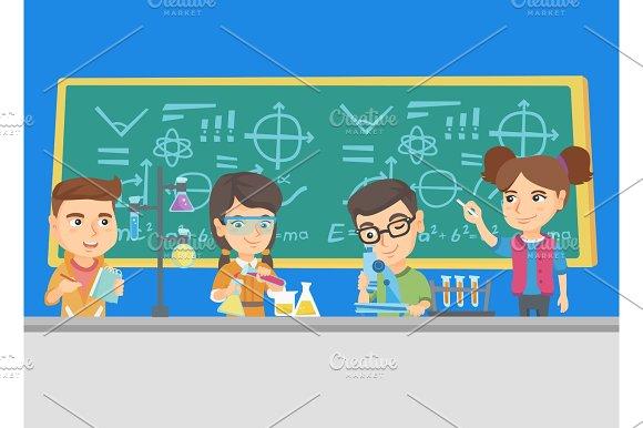 Caucasian Kids Working At Chemistry Class
