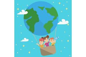 Cheerful caucasian kids riding a hot air balloon.