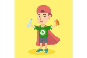Boy superhero with aluminum tin and plastic bottle