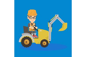 little caucasian builder kid driving an excavator.