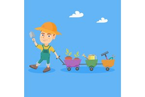 Boy pushing a cart with plants and garden tools.