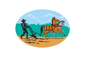 Farmer and Horses Plowing Field Cart