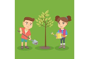 Little caucasian boy and girl planting the tree.