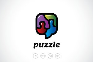 Puzzle Talk Logo Template