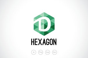 Hexagon D Logo Template