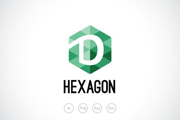 hexagon d logo template logo templates creative market