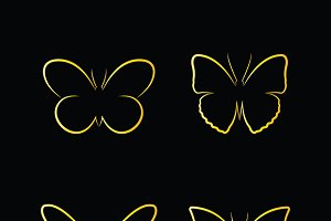 Vector of golden butterfly. Insects